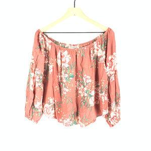 Billabong Pink Floral Mi Amore Off Shoulder Top L